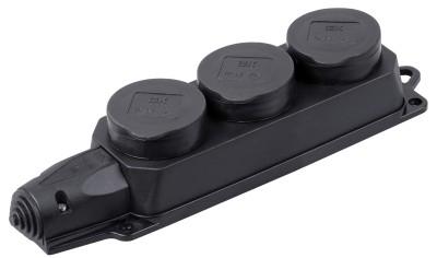 Розетка 3-х местная каучук с заземл. черная ОМЕГА РБ33